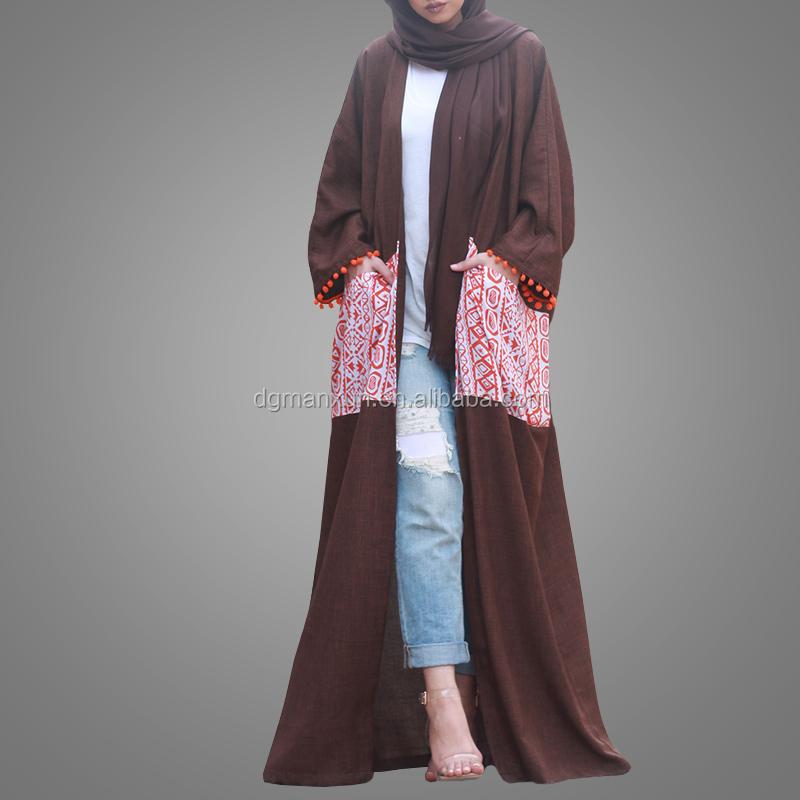 2017 fashion design printed pattern abaya dubai open linen abaya kimono muslim dress with pockets (2).jpg