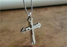 Stainless Steel silver cross pendant double cross for sale wholesale 316l stainless steel jewelry, men cross style,316l jewelry