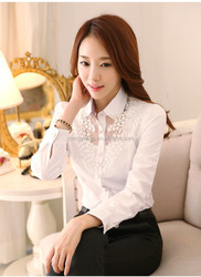 ladies white formal shirt ladies office blouse chiffon long shirt