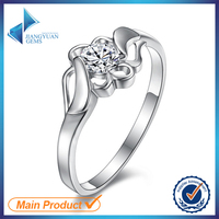 white round brilliant cut cubic zirconia siver ring & 925 stering silver rings