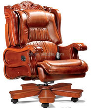 Luxury High Back High Quality CEO Boss Executive Office Chair with Wooden Base ( FOH-A02 )