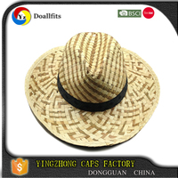 Fashion 100% cotton black embroidery wholesale straw hats wholesales