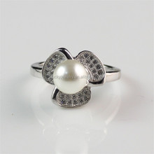 Pearl Pearl Jewelry 925 Silver Pearl Rings With CZ Cubic zircon China Finger Rings