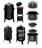 Barrel Vertical Tower Steamer Wood Charcoal Somker BBQ Barbecue Grills