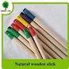 wooden broom stick mop poles with long color plastic cap