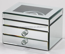 2015 hot sales fashion high quality antique 3 drawer mirror beveled glass jewelry boxes