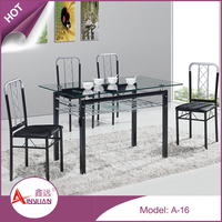 Home furniture custom size modern 9mm clear glass top metal base dining table and chairs