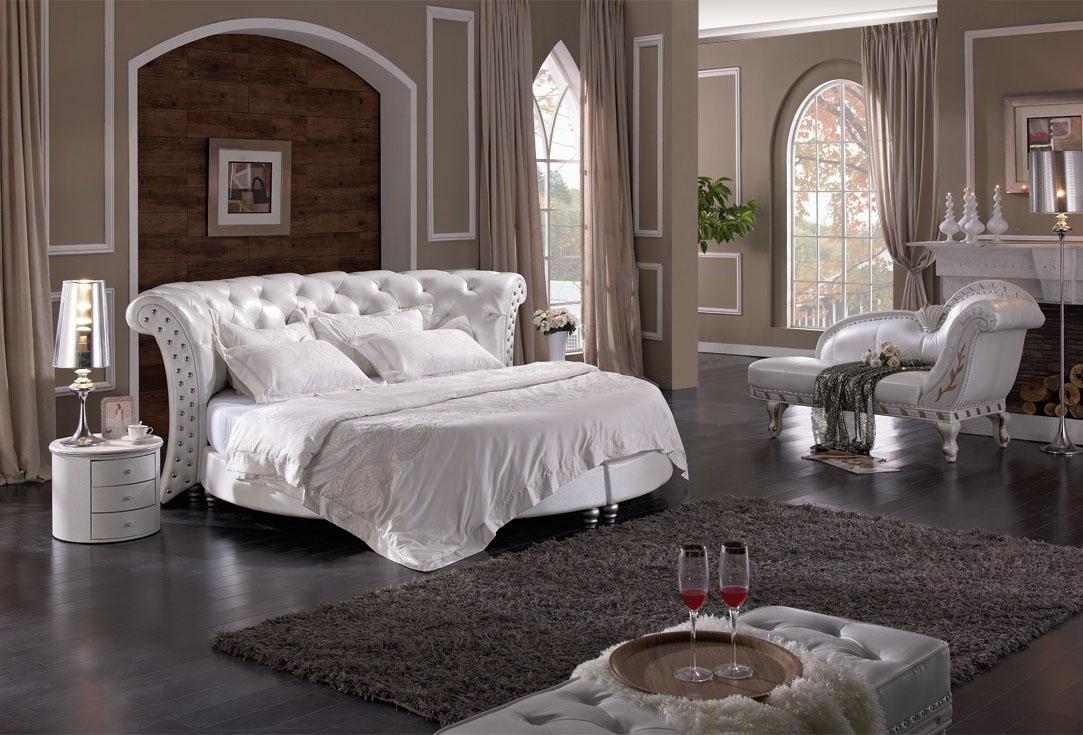 Fragrance Home Furniture Princess Carriage Bed Bedroom Set Furniture Leather Bed King Size Bed