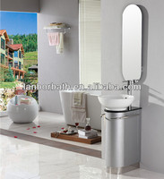 Cheap simple Small PVC and plywood floor standing bathroom cabinet with top basin and mirror FS014S