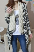 SFW703 2015 New Fall And Winter Clothes Hot Sale Cardigan Knitting Needle Loose Shawl Ladies Thick Coat Women Sweater