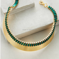 fashion jewelry gold Smyrna women emerald rhinestone choker collar necklace
