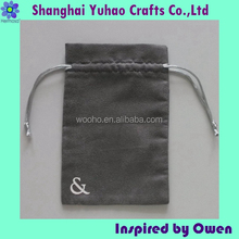 Dark Grey color faux suede Jewelry pouch for Jewelry/Cosmetic/timepieces with logo and drawstring OEM/ODM