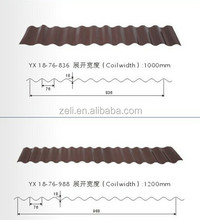 corrugated wave sheet metal roof sheet YX18-76-836(988)