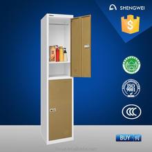 2 doors metal locker wardrobe system with hanging pipe