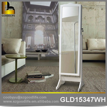Contemporary Standing wooden mirrored armoire for jewelry and makeup
