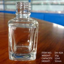 size 12ml transparent square shape glass nail polish bottles wholesale