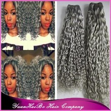 Best 7A Quality! silver grey human hair virgin brazilian kinky curl grey hair weave
