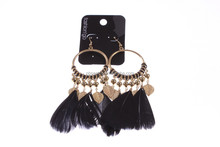 black wing and gold alloy ear stud