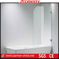 Single swing tub shower bath screen with 304 stainless steel hardware