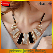 PRIMERO Fashion new Frosted Glitter Powder Double Layer Necklace ladies Geometry crystal necklace wholesale
