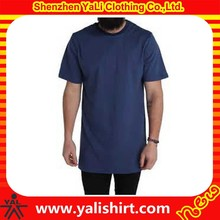 new design customized fashion short sleeve long line t shirt men