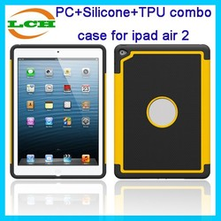Shockproof and high quanlity 3 in 1 tpu+silicone+pc combo case for ipad 6