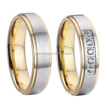 classic bicolor 18k gold plated pure titanium fashion jewelry wedding rings sets