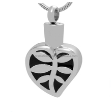TKB-P1614 Silver Stainless Steel Plants from Factory Cheap Price Heart Pendant Black Enamel Cremation Jewelry for Urn Ashes