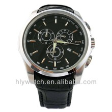 2014 New Product High End 3 Eye Calendar Tachymeter Watches with Genuine Leather Strap