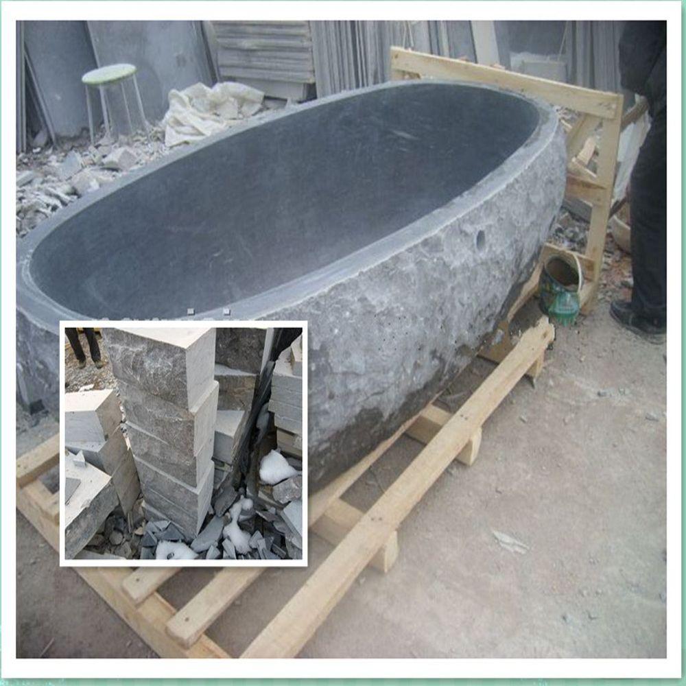 Noir pierre poli salle de bains baignoire / pierre naturelle ...