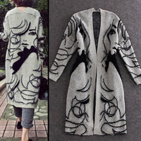 50021 New Fashion 2015 Best Selling Autumn Winter Long Sleeve Beauty Loose Women Knitted Coat Cardigan
