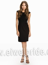 S1509 Black scoop sleeveless sheath satin adult lady girls party dress