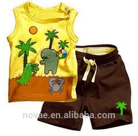 Fashion 2014 Children Clothing Sets Baby Boy Suit Kids Sleeveless Tops Vest+Pants Baby Clothing Sets