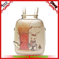 fashion print backpack ,women backpack,rabbit printed style PU backpack