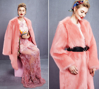 DY2098W New hot Europea style ladies thicken long pink fur coat