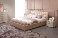 MA47O Elegant Bedroom Furniture Modern Black & White Comfy Soft Leather Bed