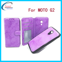 2 in 1 pu leather tpu combo custom cell phone case for Mototola moto G2