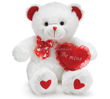 valentine's day bear gift toy white teddy bear plush toys stuffed bear toys with red heart