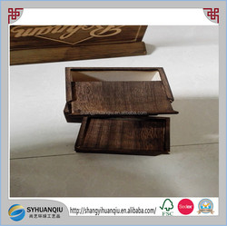 Accept Custom order and wood material dark wooden sliding box