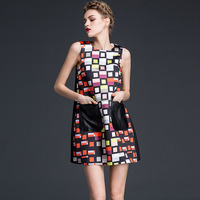 2015 high-end autumn latest dress designs fashion sleeveless printed geometric party women dresses