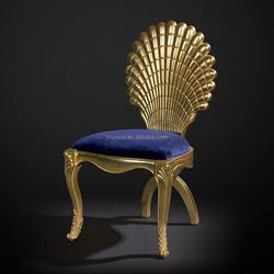 Unique Design Scallop Shaped Wooden Side Chair, Luxury Style Hand painted Dinning Chair