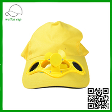 100% Cotton Solar Fan Cap With Energy Welcomed Colorful Baseball Solar Cap
