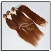 New hair product Machine double weft fashion 100% natural virgin VietNam straight/ wavy/curly light brown hair