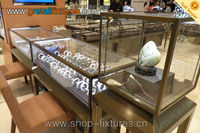 tempered glass and plywood jewelry case display cabinet