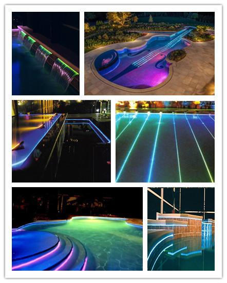 Creativo diseño de la piscina de natación, fibra optica grupo de ...