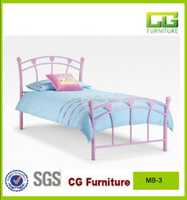 comtemporary metal frame pink bed for kids