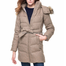 2015 Hot sale clothes high quality long winter coat with belt and detachable hoody for women wear