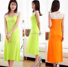 2015 new arrival Ladies yellow apple green Size L elegant 100% viscose summer dress elastane