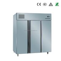 Guangzhou factory restuarant equipment stainless steel fan cooling vertical 3 door industrial freezer with CE