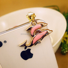Couple dolphin style phone accessory attractive crystal dustproof jewelry for girls